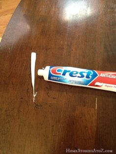 I'm sure I'll need this someday: Remove permanent marker from wood furniture (use toothpaste!)