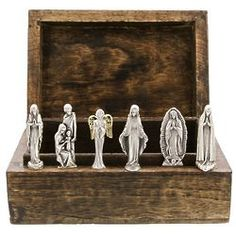 Containing six pewter statues of Catholic saints, this personalized mango wood box is a gift set that will introduce playful children to the stories of faith that inspire Christians around the world. Hail Mary, Religious Gifts, Catholic Saints, Christianity, Statue, Box, Painting, Snare Drum, Painting Art