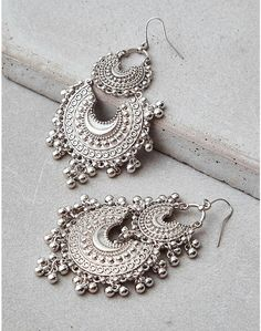 Silver tier boho earrings