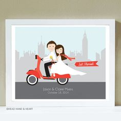 www.HeadHandHeart.etsy.com Custom Portrait, Just Married, Vespa, Wedding, off to the Honeymoon, London, Cityscape