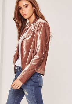 a38d9de3 We're lusting over this nude velvet biker jacket. Perfect for the new season