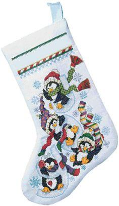 Penguins Christmas Stocking Cross Stitch Pattern***L@@K***$4.95