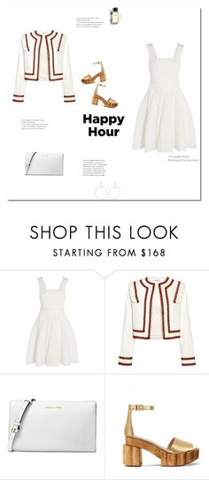 """""""a sidecar"""" by j-mgreene ❤ liked on Polyvore featuring Maje, Ganni, Michael Kors, Tory Burch, Chanel, Natasha Schweitzer, gold, white and red"""