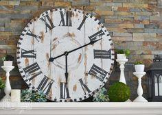 Huge Wooden Clock Face (Knock Off Decor) Industrial Farmhouse Decor, Vintage Farmhouse Decor, Farmhouse Clocks, Farmhouse Fireplace Mantels, Fireplaces, Mantle, Knock Off Decor, Diy Teepee, Wood Spool