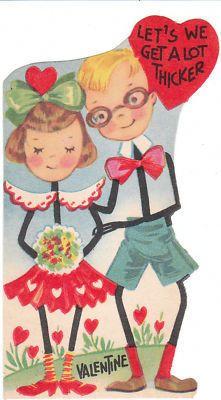 Vintage Valentine Card 'Stick Figure' Boy & Girl in Love