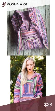 SMALL Baja poncho shirt SMALL Baja poncho shirt great for the cooler evenings, campfires, camping, ocean, poolside, so cute 50% acrylic, 40% poly, 10% cotton Jackets & Coats