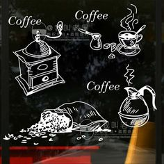 Milk tea Coffee Shop Cafes Machine Ice Cream Bread Cake Kitchen Wall Art Removable Sticker Decal DIY Home Decoration Mural Decor Mural Wall Art, Vinyl Wall Art, Wall Art Decor, Coffee Doodle, Coffee Art, Coffee Logo, Coffee Time, Mural Cafe, Ice Cream Bread