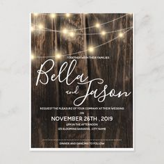 Rustic Wood With String Lights Wedding Invitation