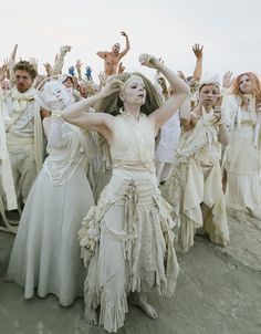 Bad Unkl Sista, a Bay Area performance group led by Anastazia Louise (center), perform an improvisational butoh.