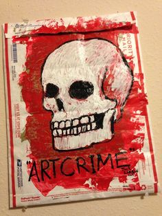 """""""ARTCRIME"""" original art on ILLEGALLY repurposed Priority Mail Envelope 12""""x16"""" #Abstract"""
