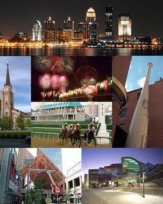 Louisville  is the largest city in the U.S. state of Kentucky, and the county seat of Jefferson County.From top: The Louisville downtown skyline at night, The Cathedral of the Assumption, Louisville fireworks at Kentucky Derby Festival, Kentucky Derby, Louisville Slugger Museum & Factory, Fourth Street Live! in Downtown, The Kentucky Center for the Performing Arts.