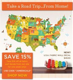 new usa map decal from petit collage