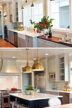 subway herringbone + lighting, gray cabinets and chrome pulls