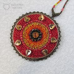 Mandala #1 - Ognista Peyote Beading, Beaded Embroidery, Jewelery, Mandala, Pendant Necklace, Beads, Handmade, Jewlery, Beading
