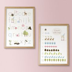 Woodland Alphabet and Counting Prints - PINK - - Archival Giclee Prints. , via Etsy.Great for children's bedroom or playroom. Woodland Theme, Woodland Nursery, Big Girl Rooms, Boy Room, Kids Rooms, Alphabet And Numbers, Alphabet Posters, Abc Poster, Alphabet Art