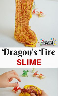 Add a whole new level of knights and castles play with this dragon's fire slime! Easy to make and good for hours of sensory fun for kids. Fairy Tale Activities, Eyfs Activities, Preschool Themes, Preschool Lessons, Preschool Art, Preschool Activities, Summer Activities, Fairy Tale Crafts, Dragons Love Tacos
