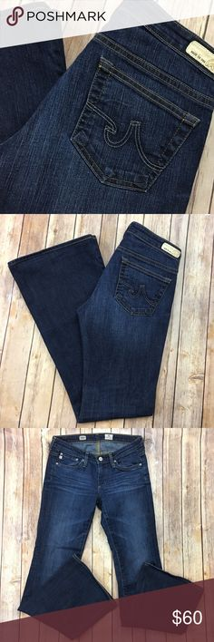 """AG Adriano Goldschmied Jeans Belle Flare AGed 4Yr Tag Size - 26 Waist Measured Across - 14.5"""" Inseam - 32"""" Rise - 7.5"""" Great used condition! The cuffs have been hemmed. Always open to reasonable offers! AG Adriano Goldschmied Jeans Flare & Wide Leg"""