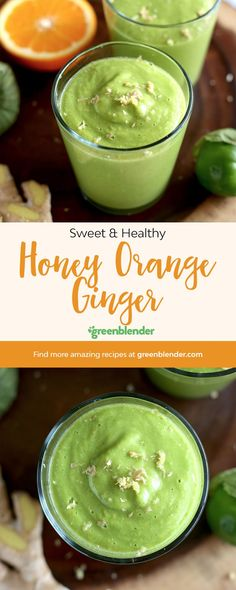 Thanks to the mild flavor of collard greens, this smoothie is sweet enough to replace that morning orange juice Nutritious Smoothies, Yummy Smoothie Recipes, Healthy Drinks, Vitamix Recipes, Orange Juice Smoothie, Ginger Smoothie, Green Smoothies, Juicing For Health, Health Foods
