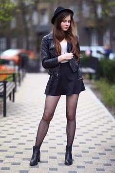 "Black leather jacket mini skirt hat and tights -  As first seen on blog ""Help! I have nothing to wear"" here: Black leather jacket mini skirt hat and tights  She is wearing tights similar here: Black Sheer Tights These soft sheer tights with a slight sheen let your legs shine."