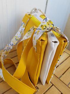 Triple pochette ChaChaCha jaune et blanc cousu par Ange - Patron Sacôtin