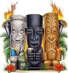 Tiki Heads clip art.jpg (370×397)