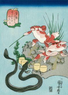 復刻浮世絵 歌川国芳「そさのおのみこと」(金魚づくし))(現代摺り)