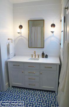 Amber Interiors - bathrooms - Rivet Medicine Cabinet, Kohler Purist Moderne Brushed Gold Faucet, caesarstone pure white, caesarstone quartz,...