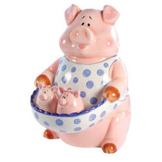 Farmhouse Pig Cookie Jar and Piglet Salt and Pepper Set - Retired