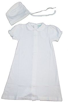 White 100 Cotton 2Piece Christening Baptism Gown wCross 9 Month