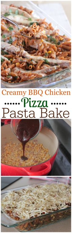 Creamy BBQ Chicken Pizza Pasta Bake!  Simple weeknight dinner the whole family enjoys....plus only takes 30 minutes from start to finish! Great family dinner recipe.