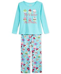 Sleep On It Girls' or Little Girls' Two-Piece Cupcake Shirt and Pants Pajama Set