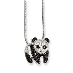 .925 Sterling Silver Black Clear CZ Panda Bear Pendant Silver Jewelry Available Exclusively at Gemologica.com