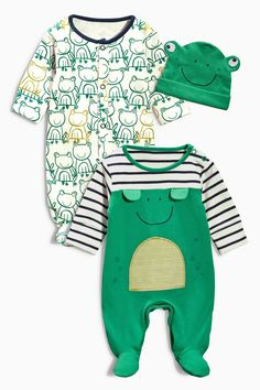 Buy Two Pack Frog Sleepsuits And Hat (0mths-2yrs) from the Next UK online shop