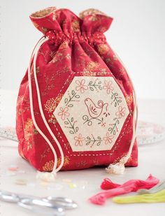 Sweet Bird Drawstring Bag by Gail Pan
