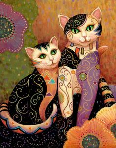 Inspired by the decorative style of artist Gustav Klimt, Kleo Kats are a contemporary portrayal of a beloved motif -- cats. Description from fineartamerica.com. I searched for this on bing.com/images