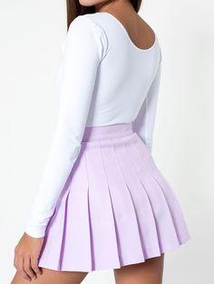 Tennis Skirt + Long Sleeve Crop Top. #AmericanApparel