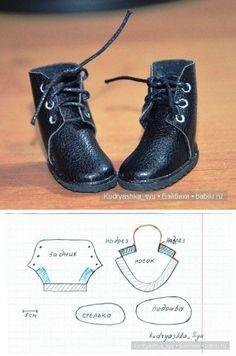 Doll boots pattern. Patrón botas negras cordones.