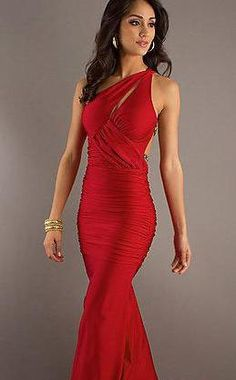 Elegant Sleeveless Asymmetric Long Red Elastic woven satin Prom Dress In Stock kaladress11439