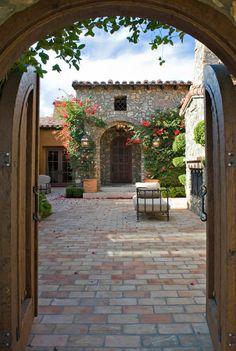 Lovely wooden garden gate entry, lovelier courtyard! Danielian Associates : Project