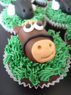 Neigh! Horse cupcake for boys farm themed birthday party by Angelina Cupcake, via Flickr