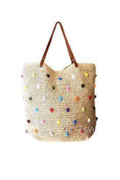 9ab38d7e0e90 Straw beach bag large raffia beach tote dotted beach bag crochet raffia  tote genuine leather straps extra large summer woven beach bag
