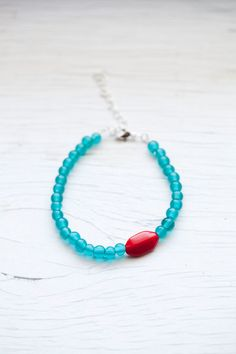 Teal Bracelet with red accent