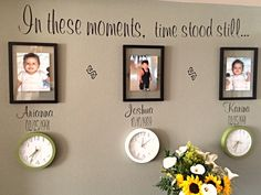 In these moments, time stood still ...Kids, birth dates and time born on each clock