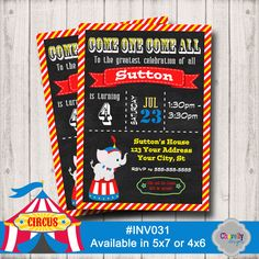 Circus Birthday Invitation - Printable - Inv031 by ChevellyDesigns on Etsy