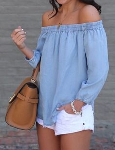 #spring #outfits Chambrey Off The Shoulder Blouse & White Ripped Denim Short