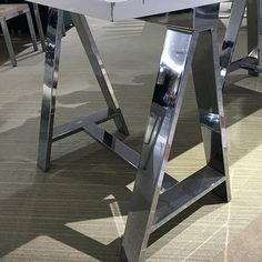 Chrome Sawhorse Ugg Table-Top Display – Fixtures Close Up Retail Fixtures, Table Top Display, Industrial Chic, Uggs, Chrome, Metal, Diy, Accessories, Bricolage