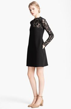 Valentino Lace Yoke Cady Dress available at #Nordstrom