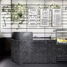 counter Monochrome styling and sprawling planting!restaurant counter Monochrome styling and sprawling planting! Cafe Restaurant, Restaurant Design, Restaurant Counter, Cafe Counter, Cafe Bar, Modern Restaurant, Marina Restaurant, Commercial Interior Design, Shop Interior Design