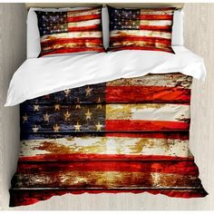 Ambesonne American Flag Duvet Cover Set King Size US Symbolism Over Old Rusty Tones Weathered Vintage Social Plank Artwork Decorative 3 Piece Bedding Set with 2 Pillow Shams Multicolor -- Check out the image by visiting the link-affiliate link. American Flag Bedroom, American Flag Banner, American Flag Decor, Bed Duvet Covers, Duvet Cover Sets, Pillow Shams, Ruffle Bedding, Queen Bedding, Blanket Cover