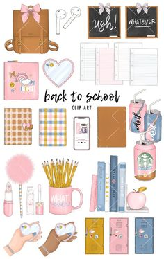 Back to School Clip Art Set Fall College Stationery Tumblr Stickers, Diy Stickers, Printable Stickers, Journal Stickers, Planner Stickers, Snapchat Stickers, Cute Kawaii Drawings, Bullet Journal Ideas Pages, Flower Doodles